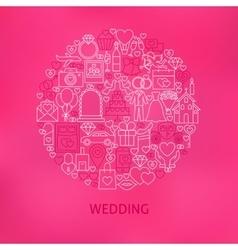 Line Wedding Icons Circle Concept vector