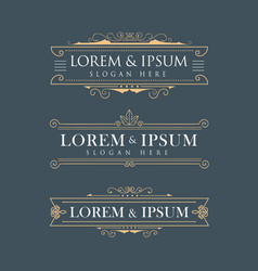 Luxury crown frame logos calligraphy flourishes vector