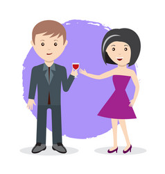 Man and woman toast with glass of wine flat style vector