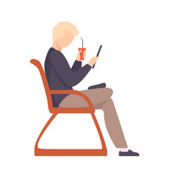 man is sitting on a red chair vector image