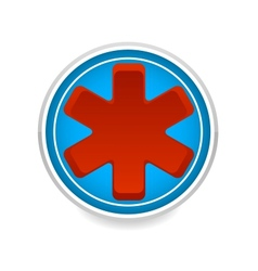Medic symbol red color on blue circle vector
