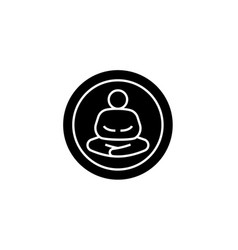 meditation pose black concept icon vector image