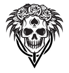 monochrome with bride skull rose vector image