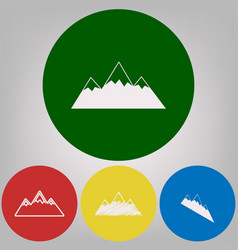 mountain sign 4 white styles vector image