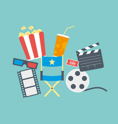 movie popcorn ticket clapperboard and film vector image