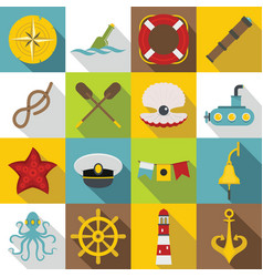 nautical icons set flat style vector image
