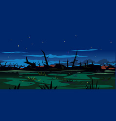 Night swamp game background landscape vector