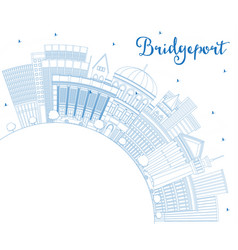 outline bridgeport connecticut city skyline with vector image
