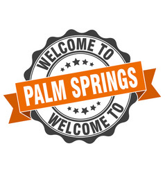 Palm springs round ribbon seal vector