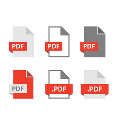 Pdf files document icon set file format sign vector