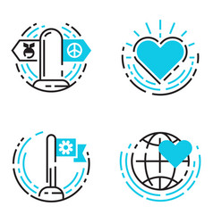 Peace outline blue icons love world freedom vector
