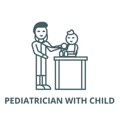 pediatrician with childkid doctor line vector image