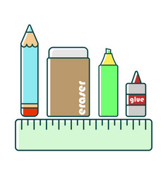 Pencil eraser highlighter glue ruler vector