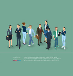 People crowd isometric presentation template vector