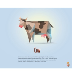 Polygonal of black and white cow with milk vector