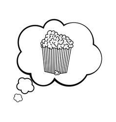 Pop corn into a speech bubble black and white vector