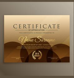 Premium brown certificate design template vector