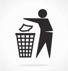 put your trash rubbish in bin symbol vector image