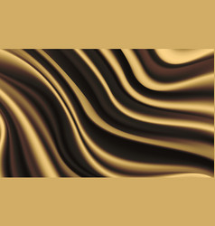 Realistic gold silk satin wrinkled fabric wave vector