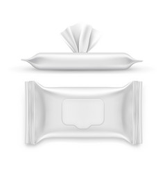 realistic white napkin pack facial wipe vector image