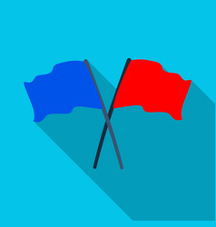 Red and blue flagspaintball single icon in flat vector