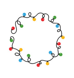 round frame tangled wire and christmas lights vector image