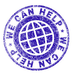 Scratched textured we can help stamp seal vector
