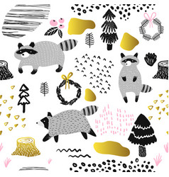 Seamless pattern cute racoon childish background vector