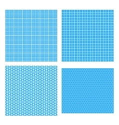 set four white geometric grids on cyan vector image