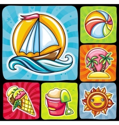 Set of 6 summer and beach icons vector image