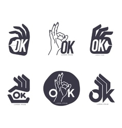 Set of hand showing OK sign logo templates vector