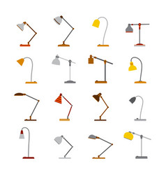 set of office table lamps in flat style vector image
