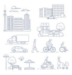 set of various city design elements vector image
