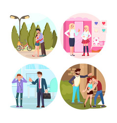 Set teens and parents vector