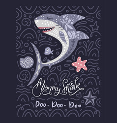Shark animal card vector