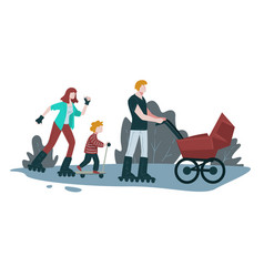 skating in park family outdoor activity vector image