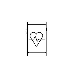 smartphone heart rate icon vector image