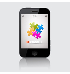 Smartphone with Puzzle Theme on Grey Backgro vector image