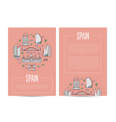 Spain traveling advertising in linear style vector