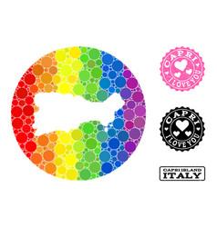 Spectrum mosaic hole circle map capri island vector