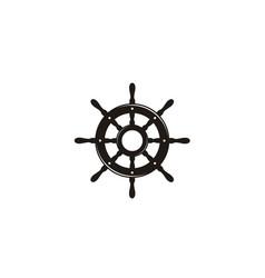 steering wheel captain sailor boat ship yacht logo vector image