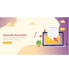 Subscribe newsletter concept with team working vector