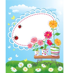 Summer frame with flowers in pots ladybirds and b vector