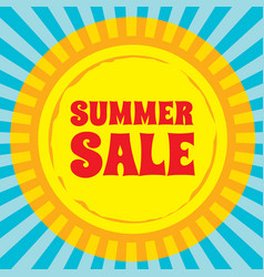 summer sale - concept banner sun with rays vector image
