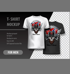 t-shirt template fully editable with bikers show vector image