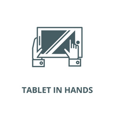 tablet in hands line icon linear concept vector image