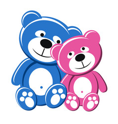 Teddy bear couple pink and blue vector