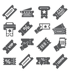 ticket and coupon icons on white background vector image