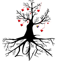 tree with hearts and the word LOVE vector image