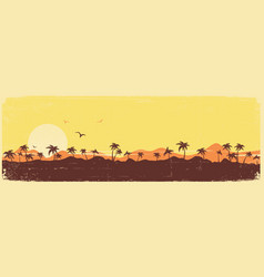 Tropical island paradise vintage background with vector